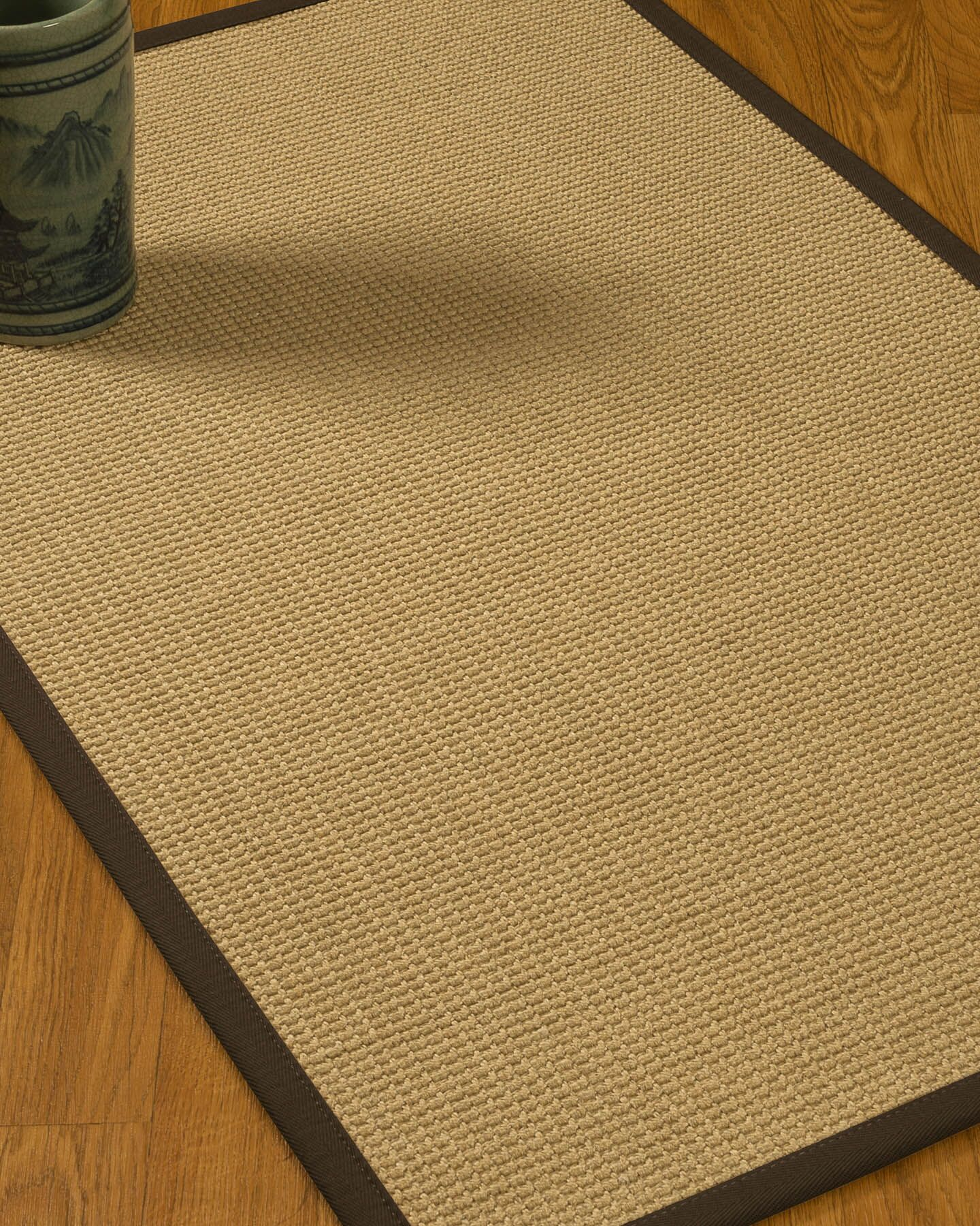 Jacobs Border Hand-Woven Beige/Fudge Area Rug Rug Size: Rectangle 8' x 10', Rug Pad Included: Yes