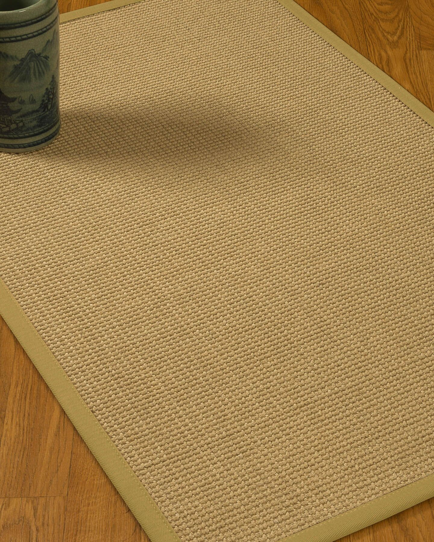 Jacobs Border Hand-Woven Beige/Khaki Area Rug Rug Pad Included: No, Rug Size: Rectangle 3' x 5'