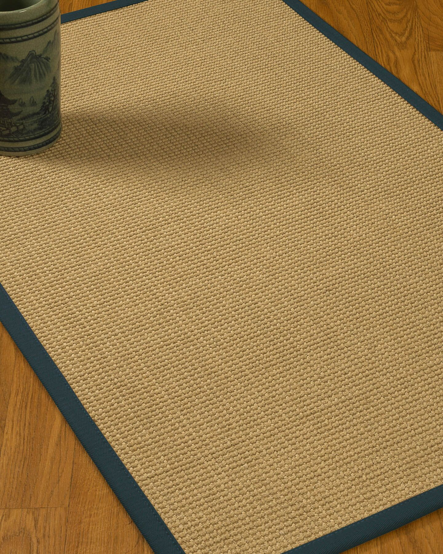 Jacobs Border Hand-Woven Beige/Marine Area Rug Rug Size: Rectangle 5' x 8', Rug Pad Included: Yes