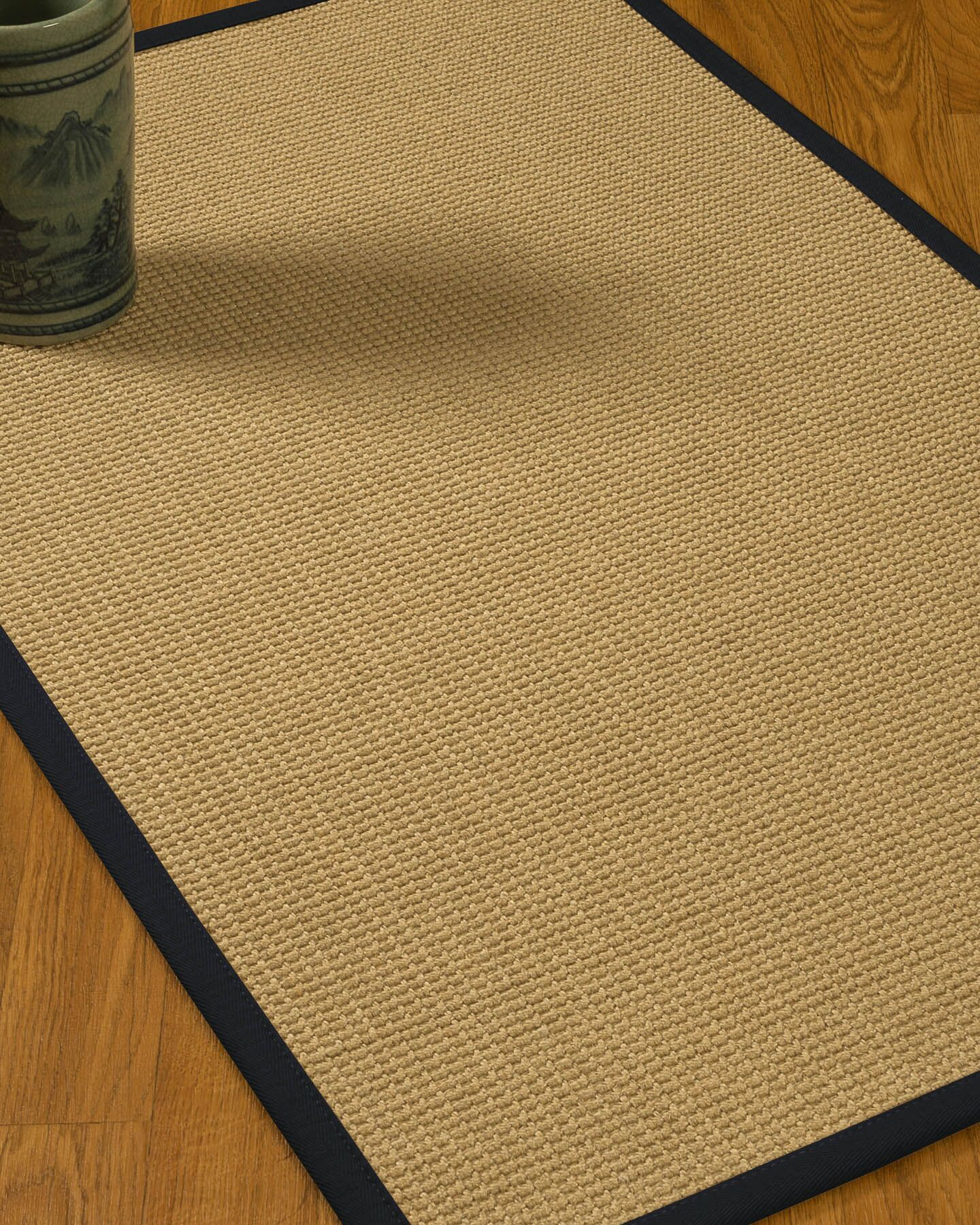 Jacobs Border Hand-Woven Beige/Midnight Blue Area Rug Rug Size: Rectangle 12' x 15', Rug Pad Included: Yes