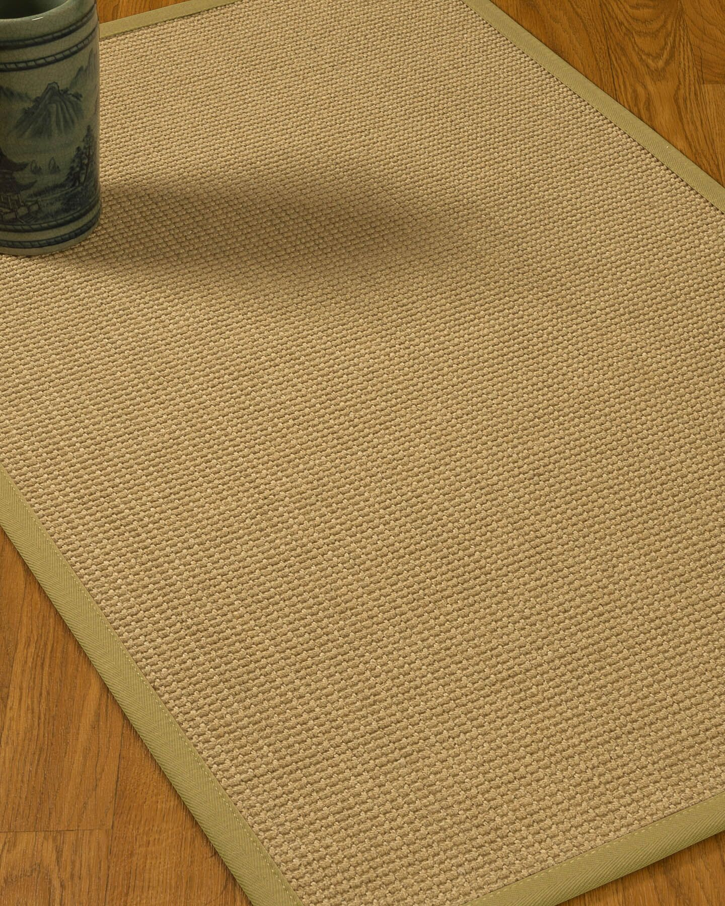 Jacobs Border Hand-Woven Beige/Natural Area Rug Rug Size: Rectangle 4' x 6', Rug Pad Included: Yes