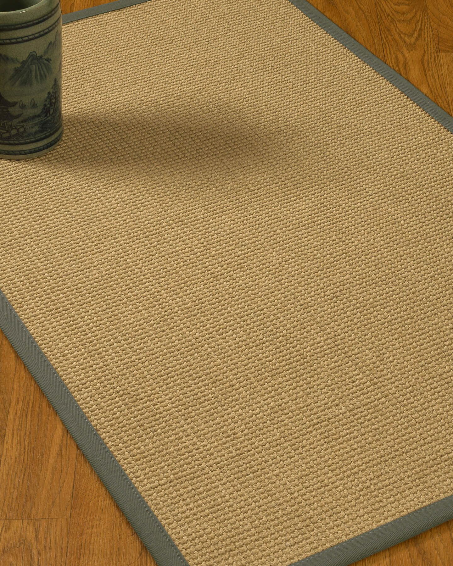 Jacobs Border Hand-Woven Beige/Stone Area Rug Rug Size: Rectangle 12' x 15', Rug Pad Included: Yes