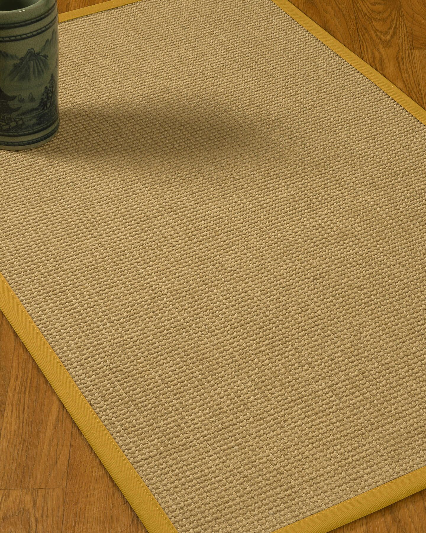 Jacobs Border Hand-Woven Beige/Tan Area Rug Rug Size: Rectangle 8' x 10', Rug Pad Included: Yes