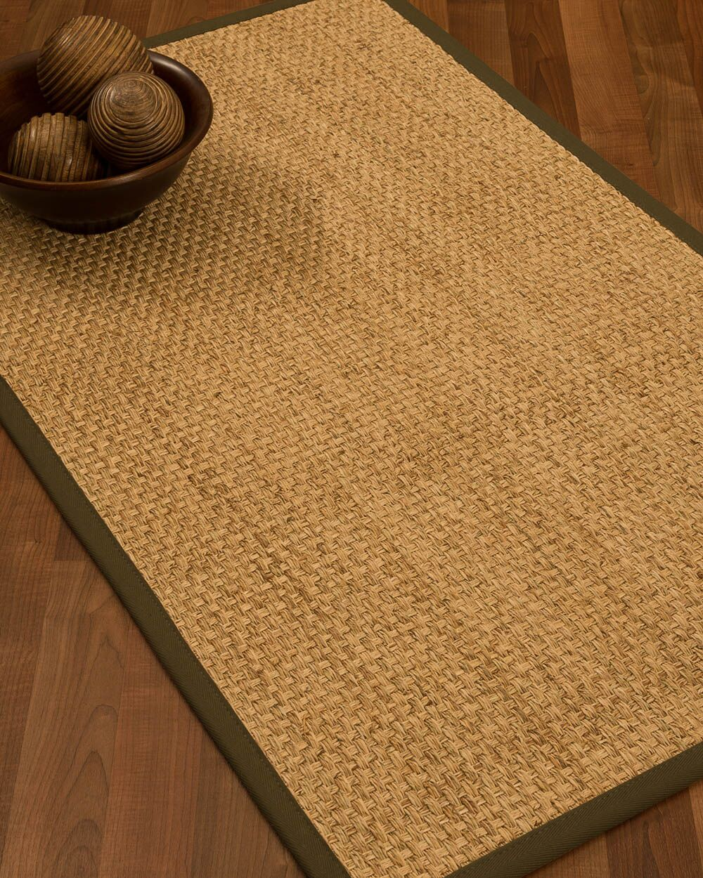 Caster Border Hand-Woven Beige/Malt Area Rug Rug Size: Rectangle 8' x 10', Rug Pad Included: Yes