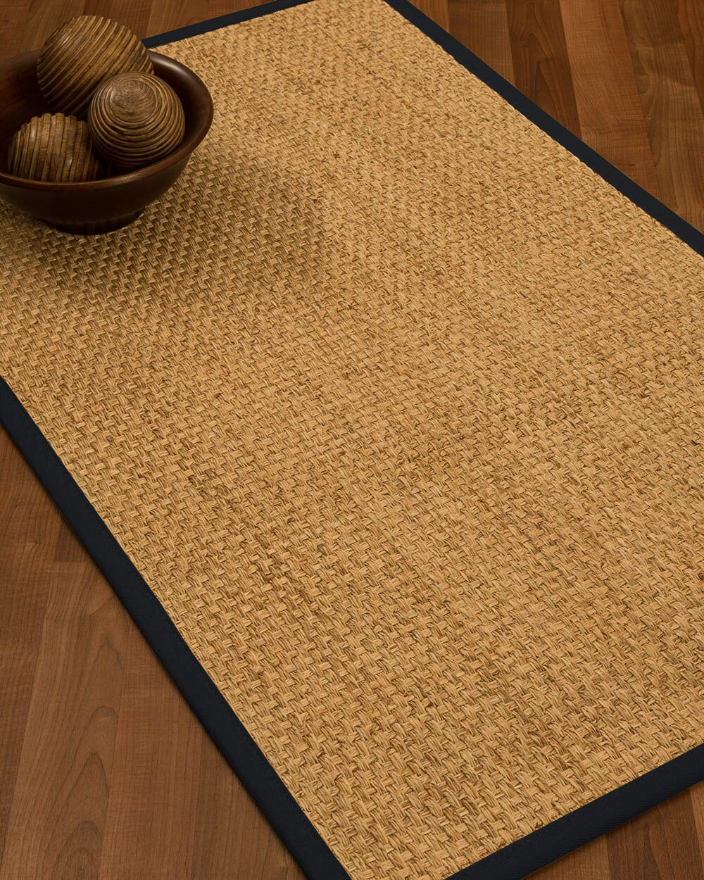 Caster Border Hand-Woven Beige/Midnight Blue Area Rug Rug Size: Rectangle 12' x 15', Rug Pad Included: Yes