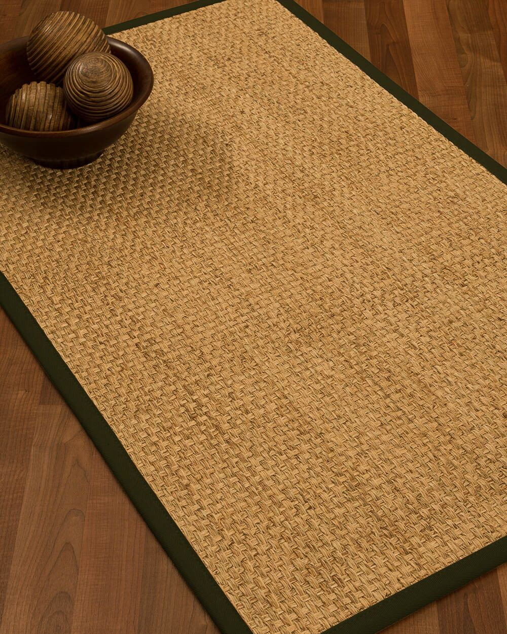Caster Border Hand-Woven Beige/Moss Area Rug Rug Size: Rectangle 9' x 12', Rug Pad Included: Yes