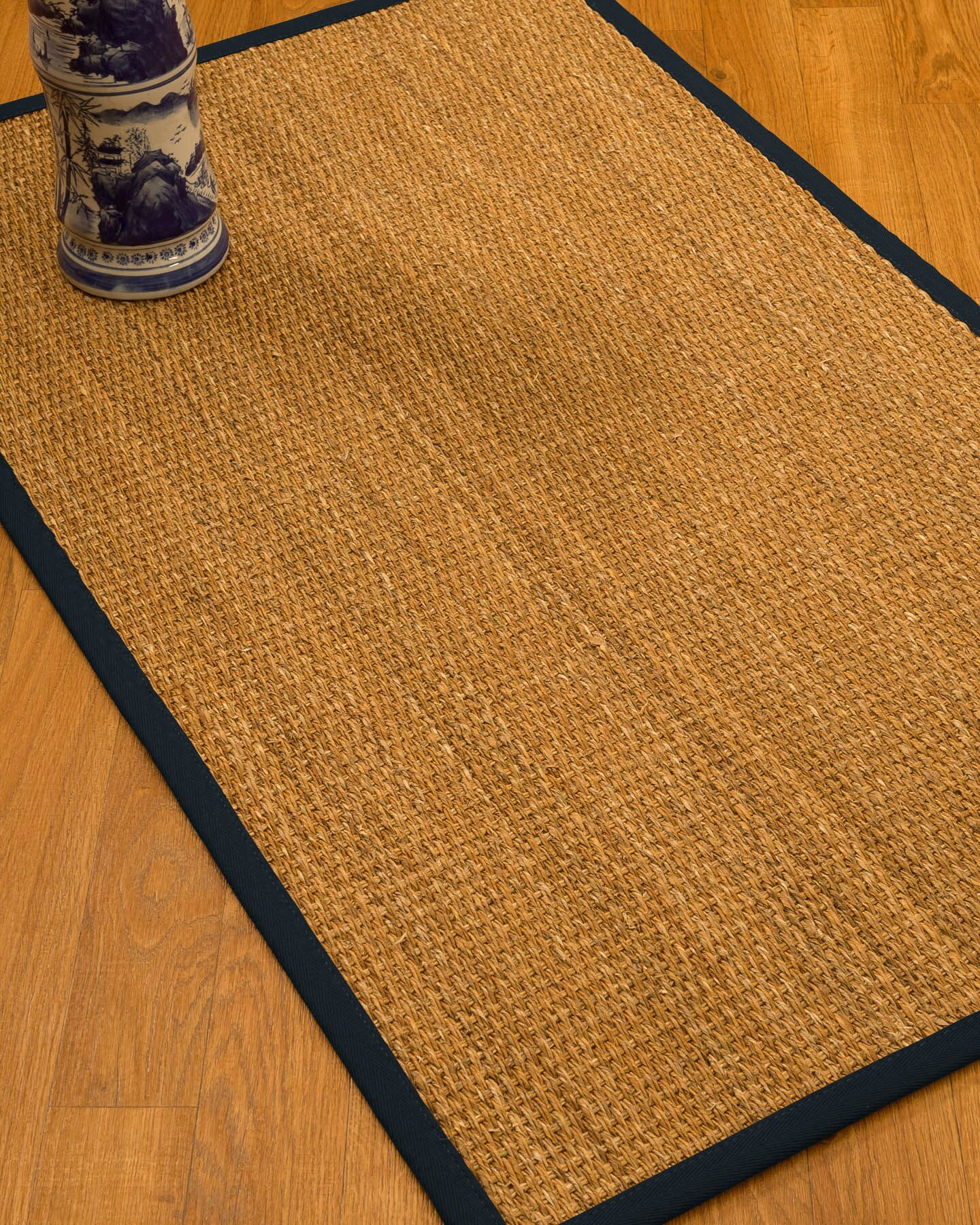 Kimberwood Border Hand-Woven Brown/Midnight Blue Area Rug Rug Size: Rectangle 5' x 8', Rug Pad Included: Yes