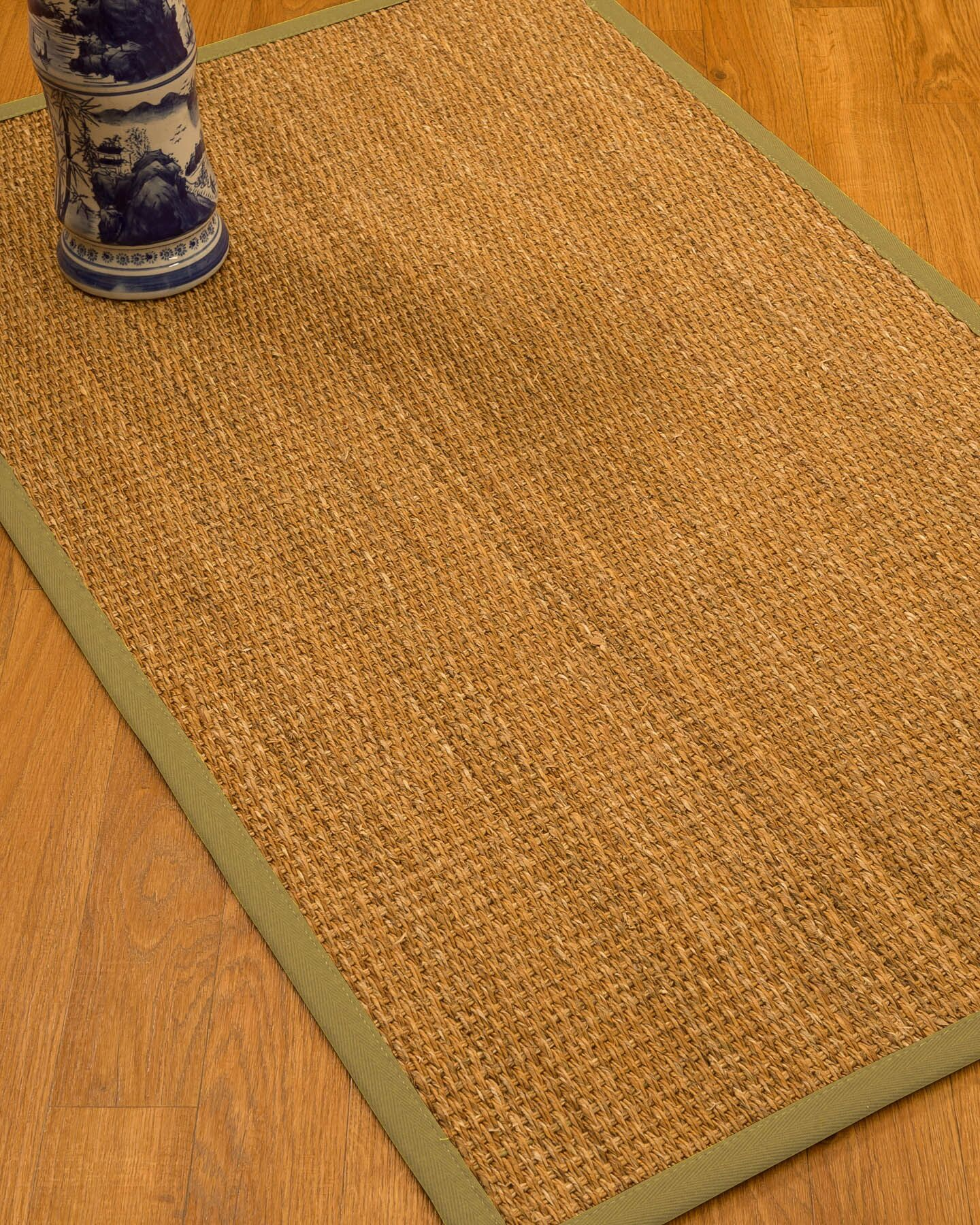 Kimberwood Border Hand-Woven Brown/Natural Area Rug Rug Size: Rectangle 6' x 9', Rug Pad Included: Yes