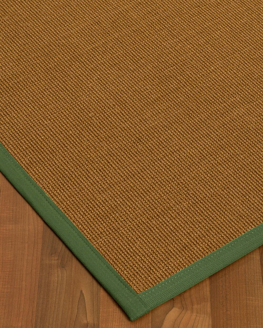 Antonina Border Hand-Woven Brown/Green Area Rug Rug Size: Rectangle 12' x 15', Rug Pad Included: Yes