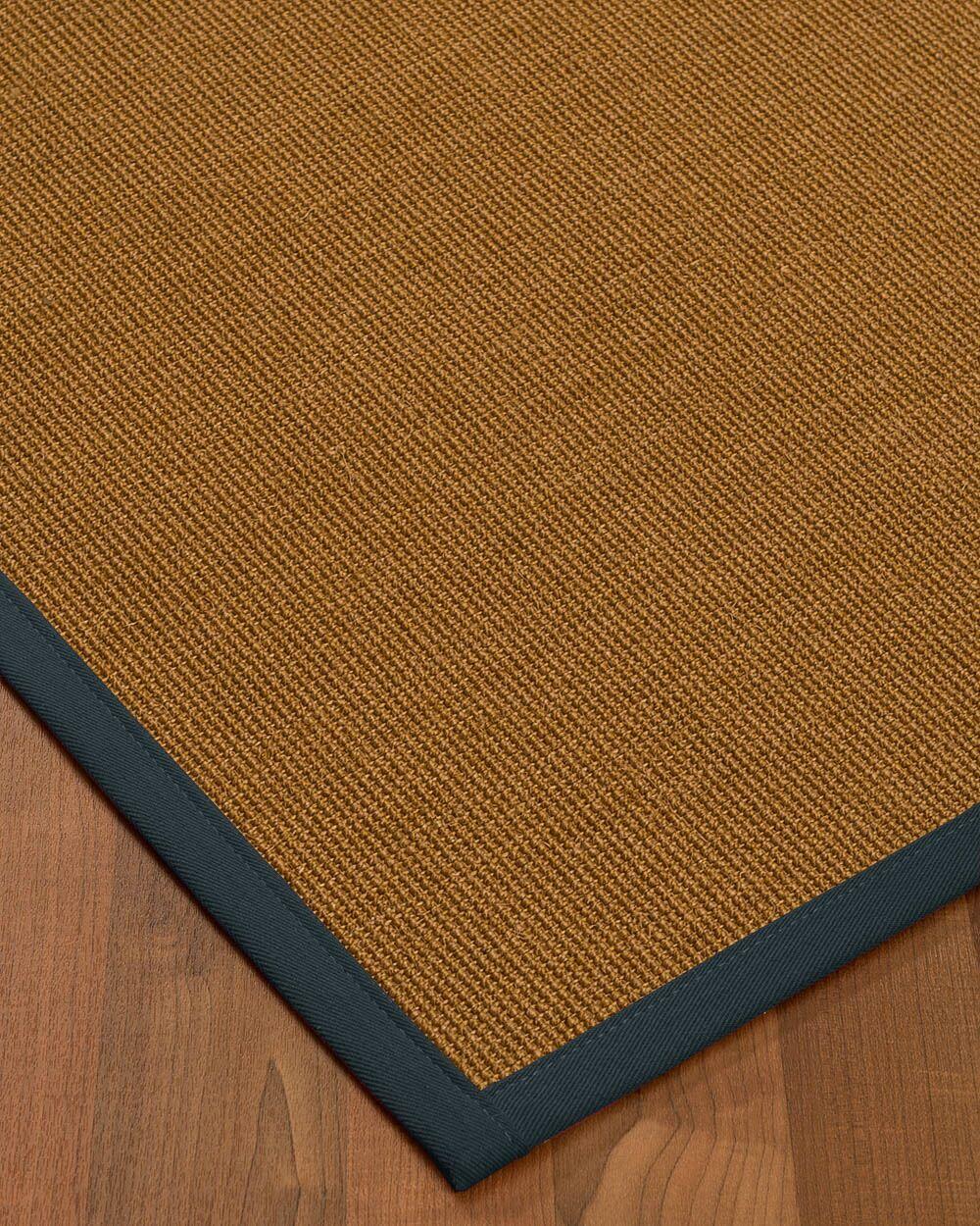 Antonina Border Hand-Woven Brown/Marine Area Rug Rug Size: Rectangle 8' x 10', Rug Pad Included: Yes
