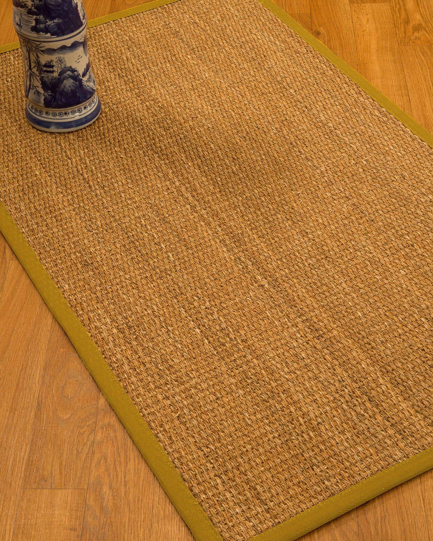 Kimberwood Border Hand-Woven Brown/Tan Area Rug Rug Size: Rectangle 5' x 8', Rug Pad Included: Yes