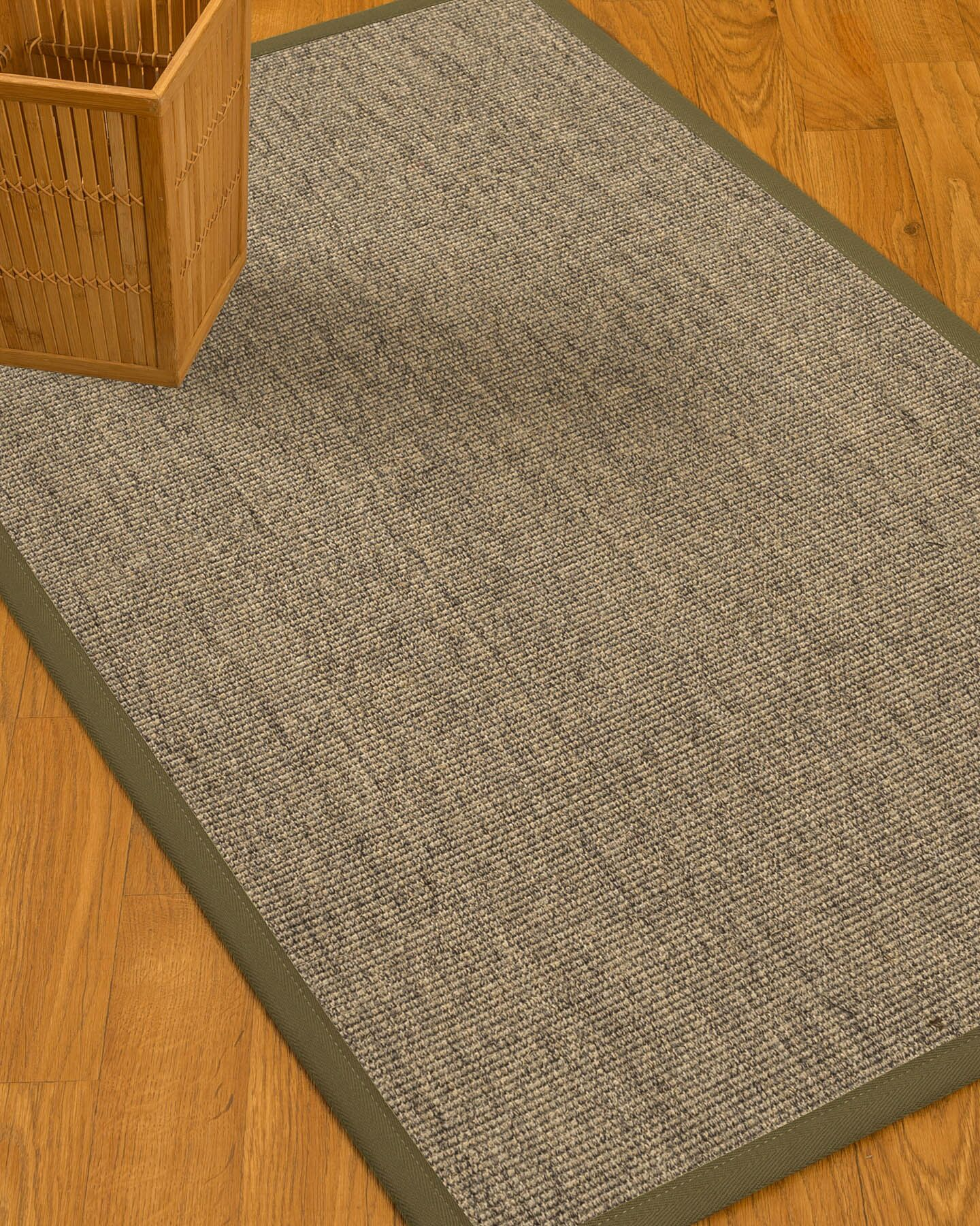 Mahan Border Hand-Woven Gray Area Rug Rug Size: Rectangle 6' x 9', Rug Pad Included: Yes