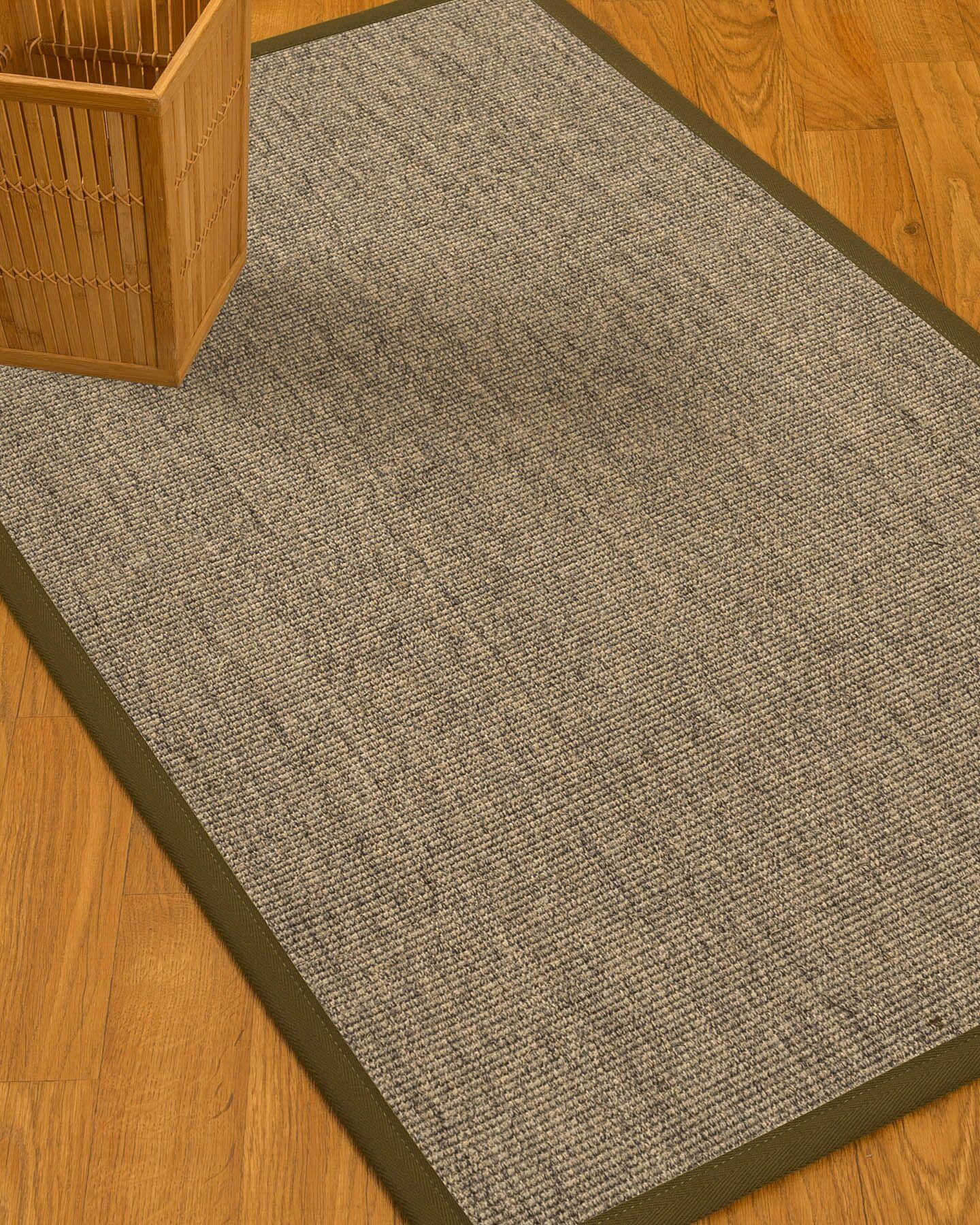 Mahan Border Hand-Woven Gray Area Rug Rug Size: Rectangle 8' x 10', Rug Pad Included: Yes