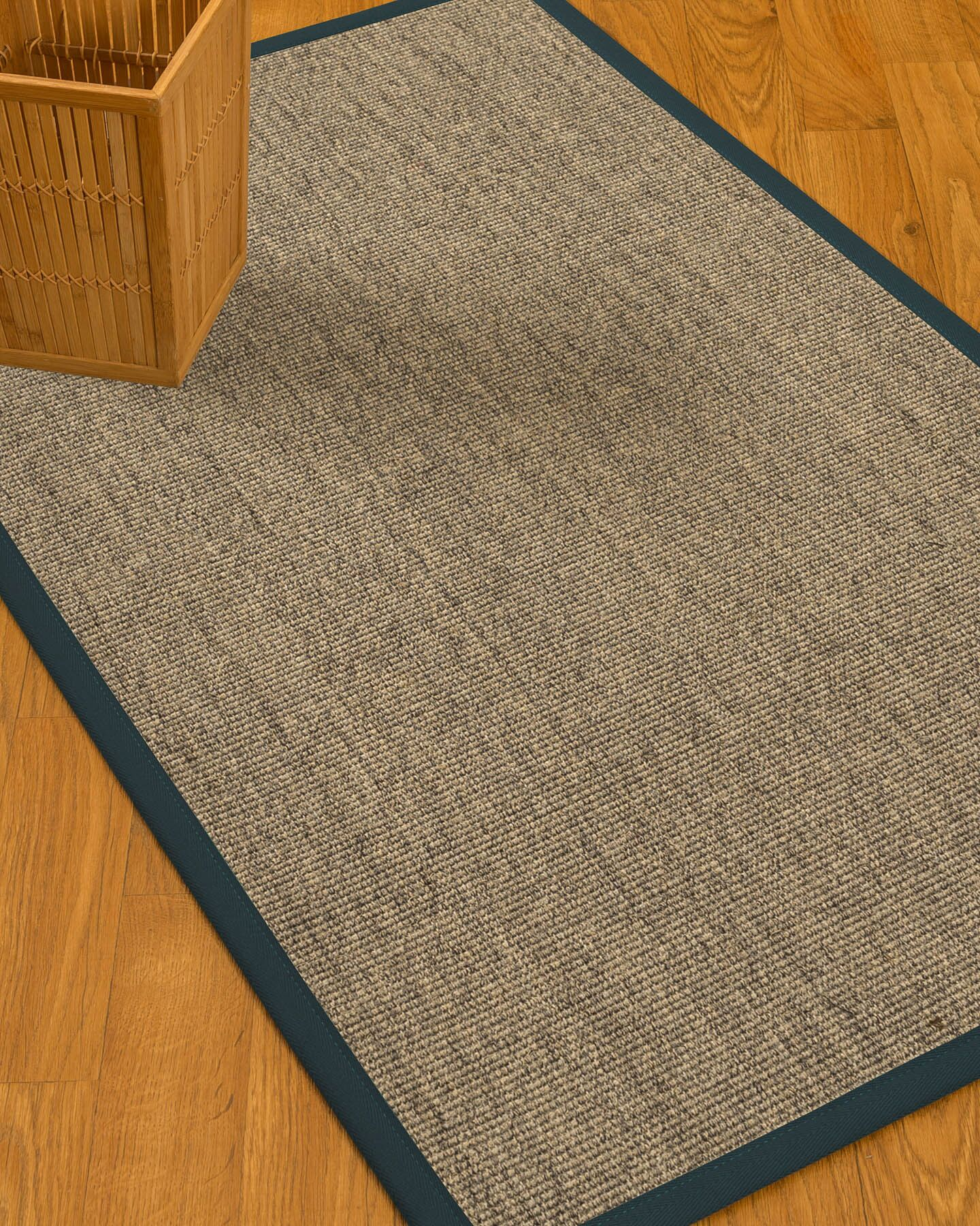 Mahan Border Hand-Woven Beige/Marine Area Rug Rug Size: Rectangle 12' x 15', Rug Pad Included: Yes