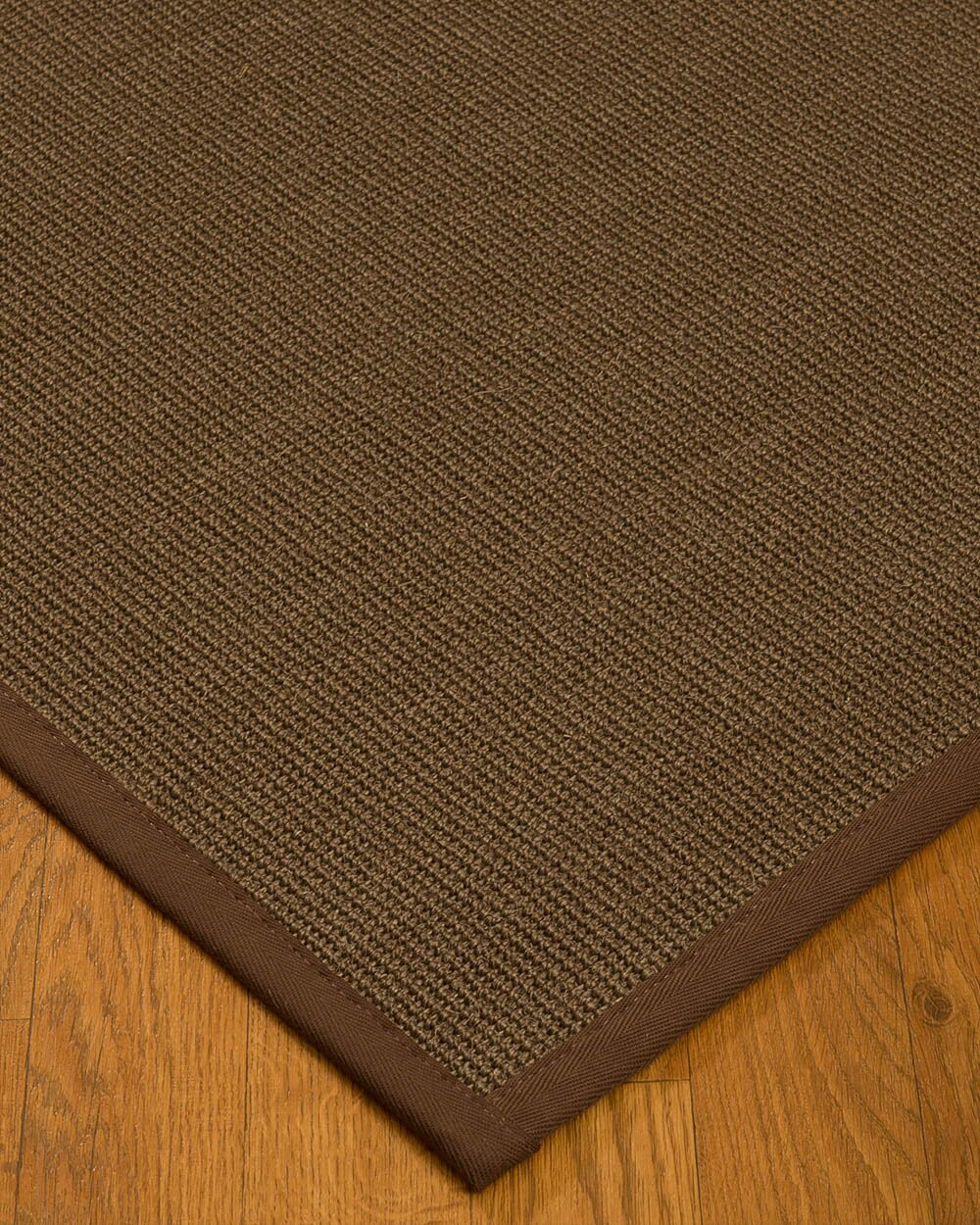 Kerner Border Hand-Woven Brown Area Rug Rug Size: Rectangle 5' x 8', Rug Pad Included: Yes