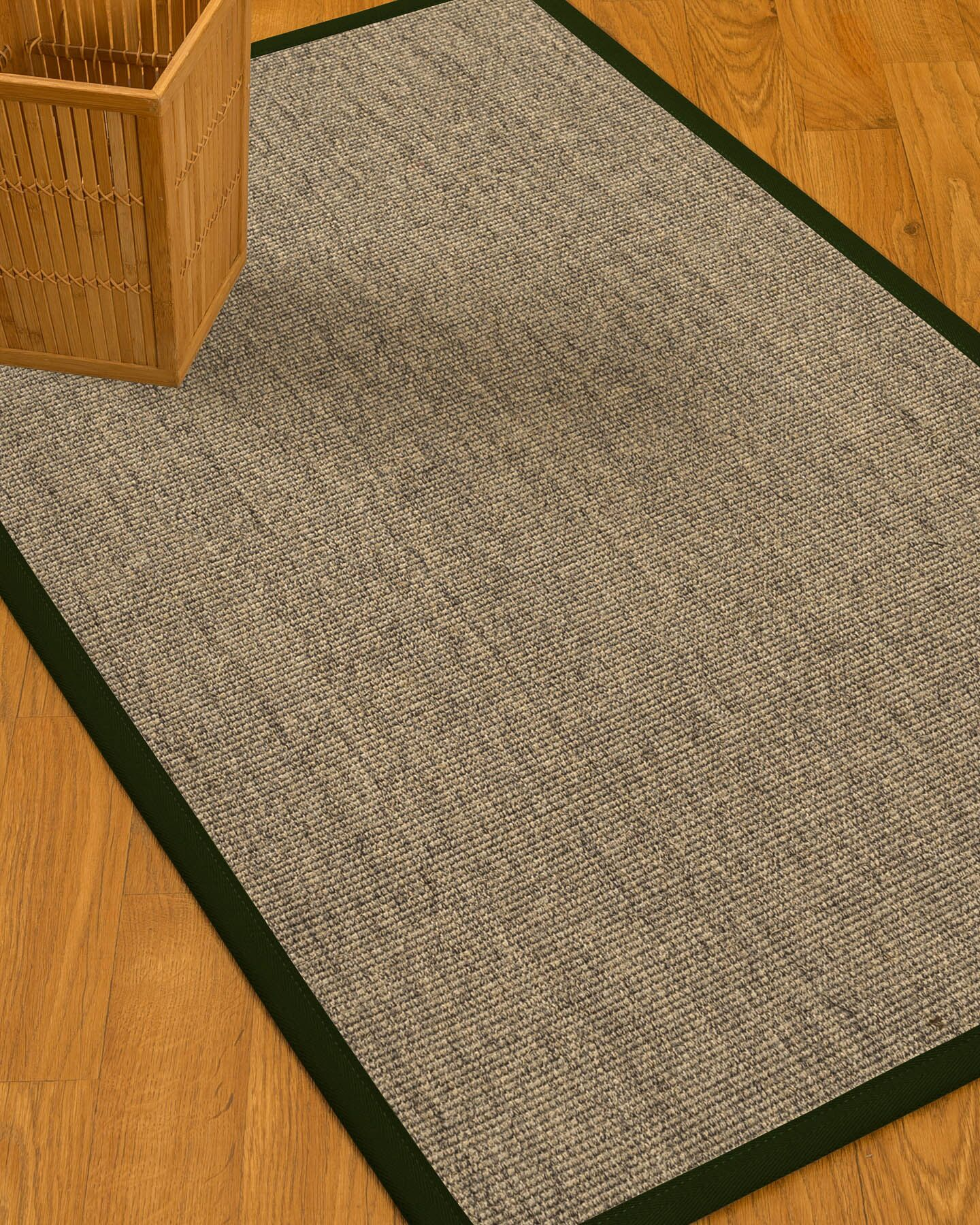 Mahan Border Hand-Woven Gray/Moss Area Rug Rug Pad Included: No, Rug Size: Runner 2'6