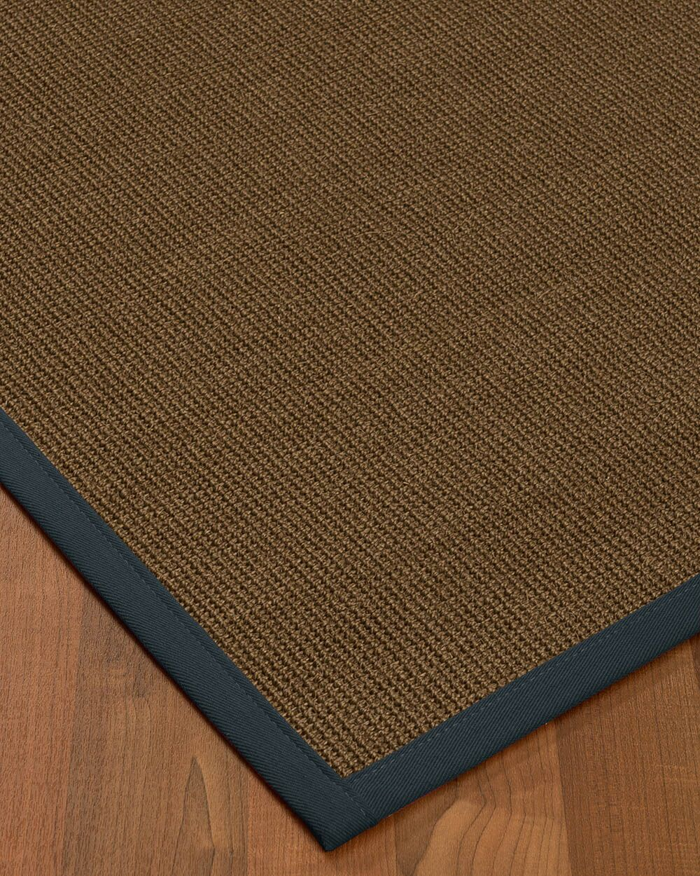 Kerner Border Hand-Woven Brown/Marine Area Rug Rug Size: Rectangle 5' x 8', Rug Pad Included: Yes