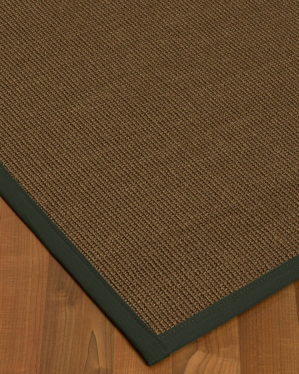 Kerner Border Hand-Woven Brown/Green Area Rug Rug Size: Rectangle 4' x 6', Rug Pad Included: Yes