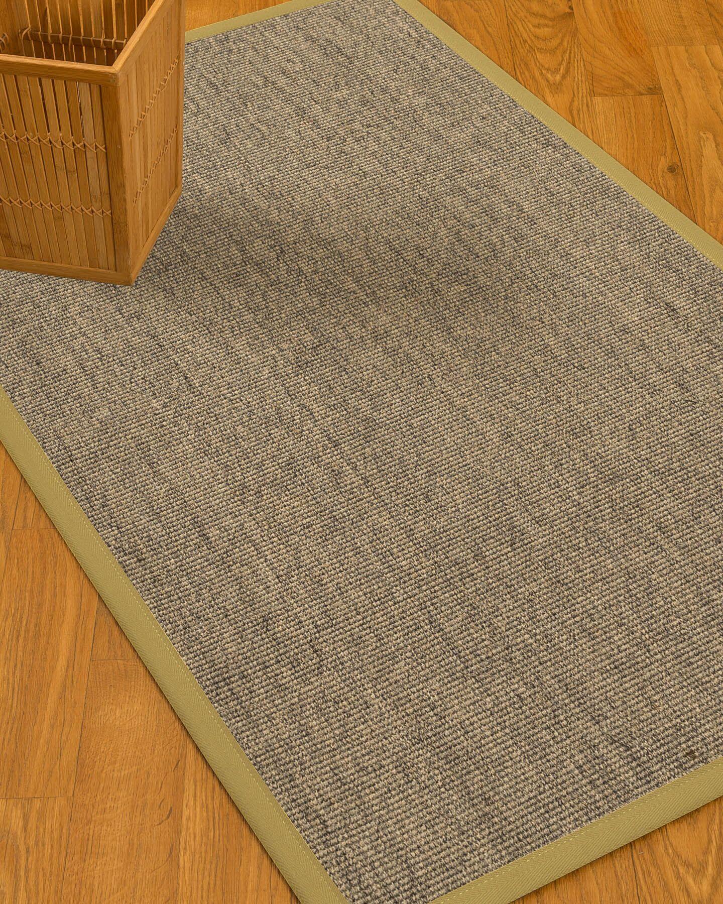 Mahan Border Hand-Woven Gray/Sand Area Rug Rug Size: Rectangle 8' x 10', Rug Pad Included: Yes