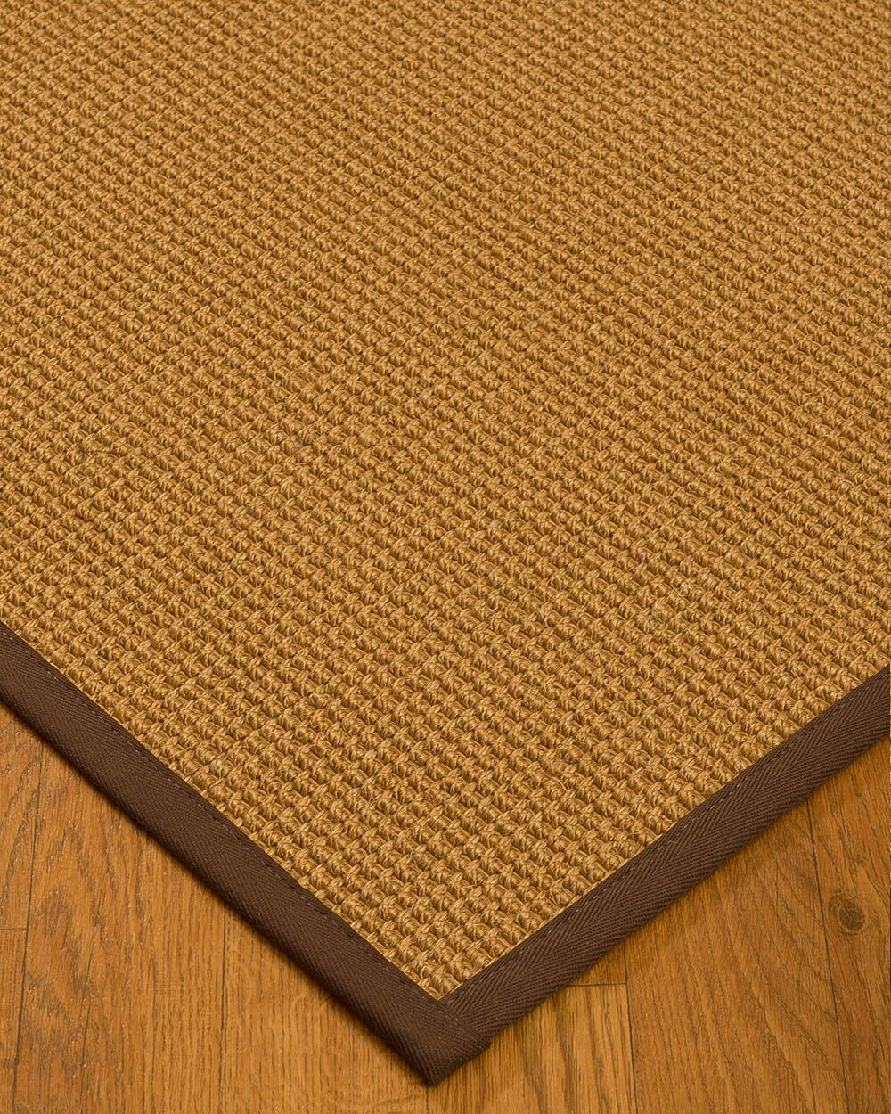 Aula Border Hand-Woven Brown Area Rug Rug Size: Rectangle 9' x 12', Rug Pad Included: Yes