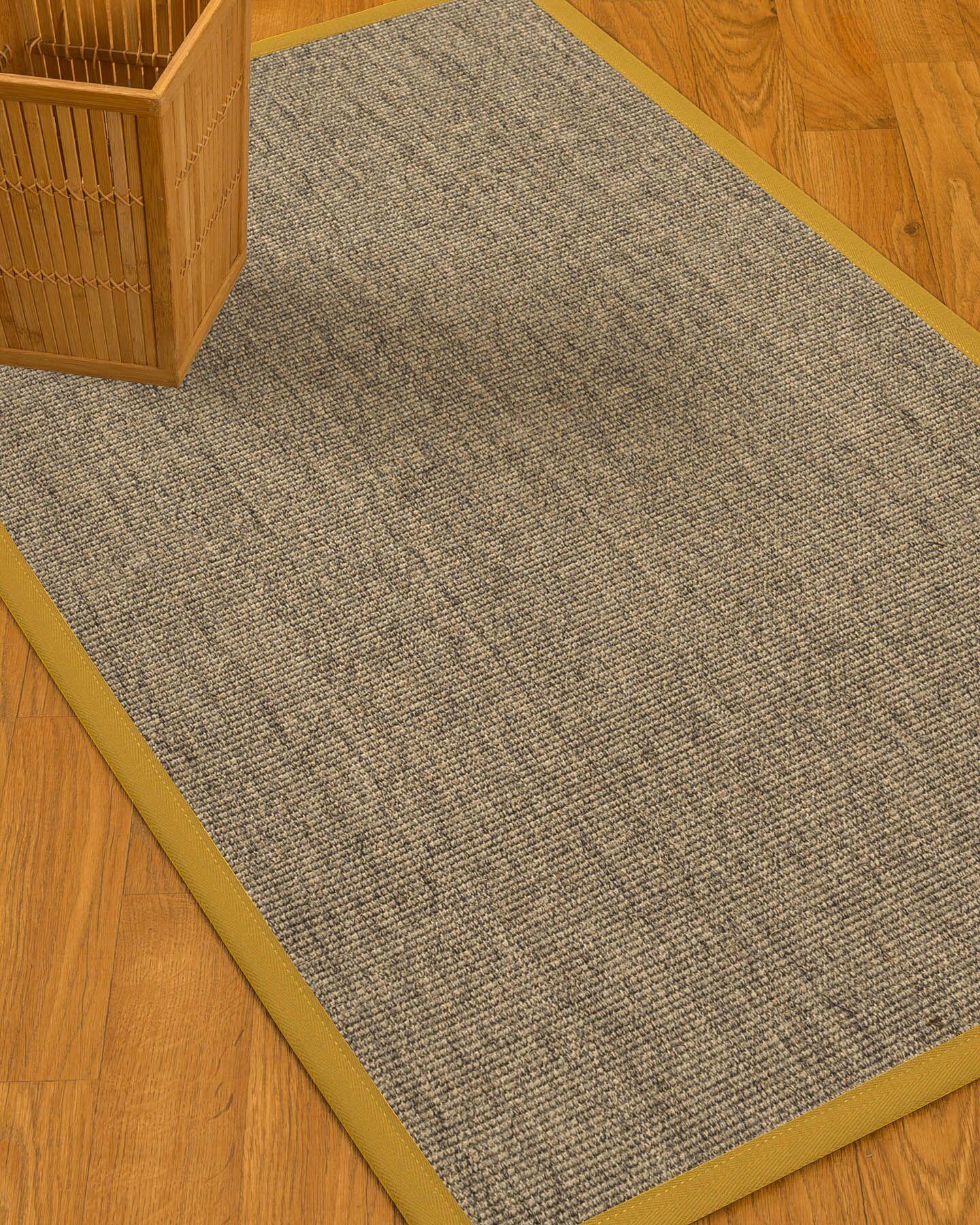 Mahan Border Hand-Woven Gray/Tan Area Rug Rug Size: Rectangle 3' x 5', Rug Pad Included: No
