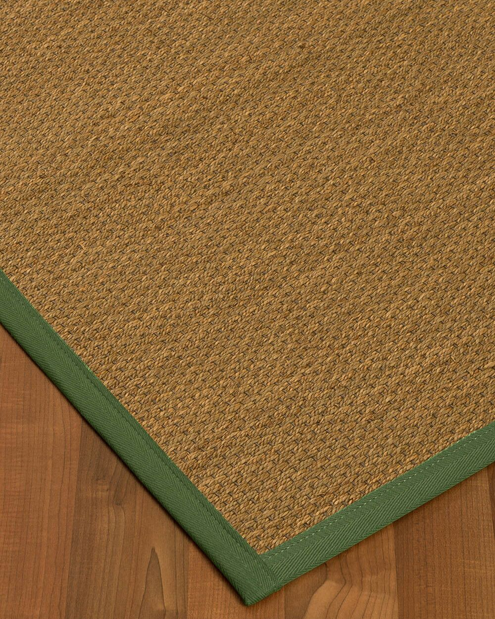 Kennon Border Hand-Woven Brown/Green Area Rug Rug Size: Rectangle 12' x 15', Rug Pad Included: Yes