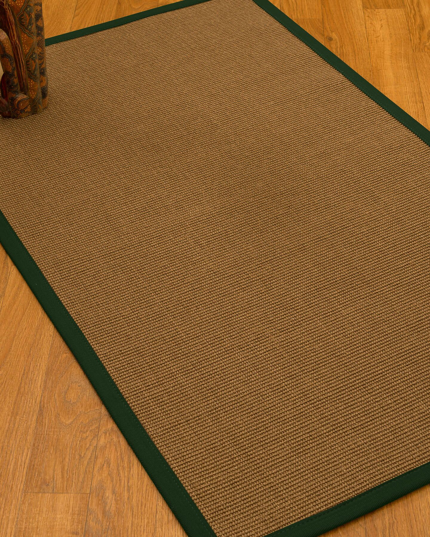 Huntwood Border Hand-Woven Brown/Moss Area Rug Rug Pad Included: No, Rug Size: Rectangle 3' x 5'