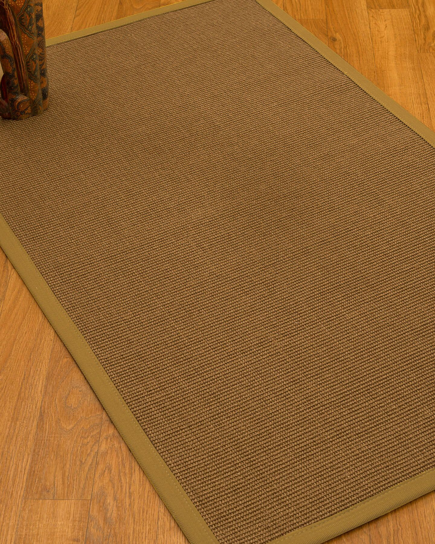 Huntwood Border Hand-Woven Brown/Sage Area Rug Rug Size: Rectangle 4' x 6', Rug Pad Included: Yes
