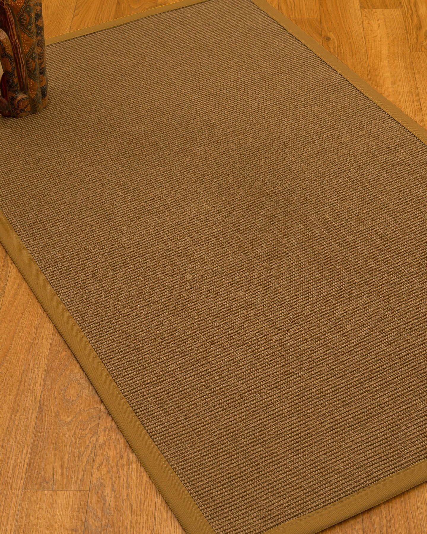 Huntwood Border Hand-Woven Brown/Olive Area Rug Rug Pad Included: No, Rug Size: Rectangle 2' x 3'