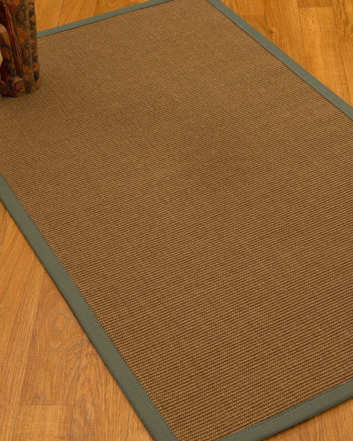 Huntwood Border Hand-Woven Brown/Slate Area Rug Rug Size: Rectangle 9' x 12', Rug Pad Included: Yes