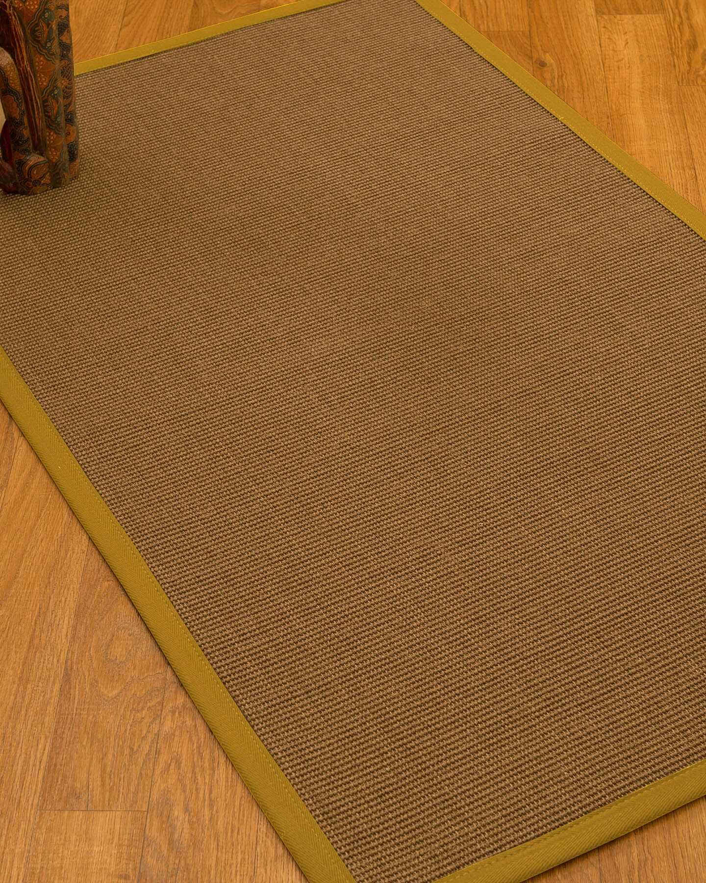 Huntwood Border Hand-Woven Brown/Tan Area Rug Rug Size: Rectangle 9' x 12', Rug Pad Included: Yes