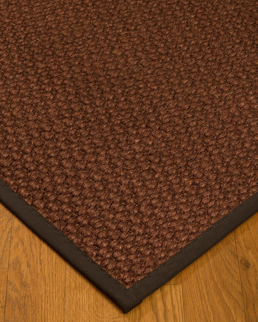 Kerrick Border Hand-Woven Brown/Fudge Area Rug Rug Size: Rectangle 5' x 8', Rug Pad Included: Yes
