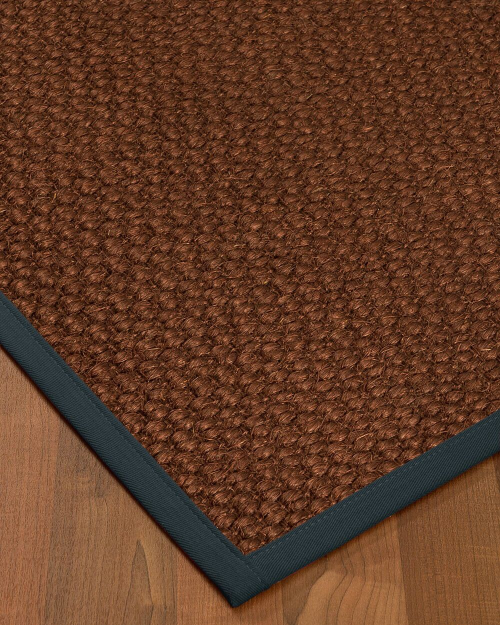 Kerrick Border Hand-Woven Brown/Navy Area Rug Rug Pad Included: No, Rug Size: Rectangle 3' x 5'