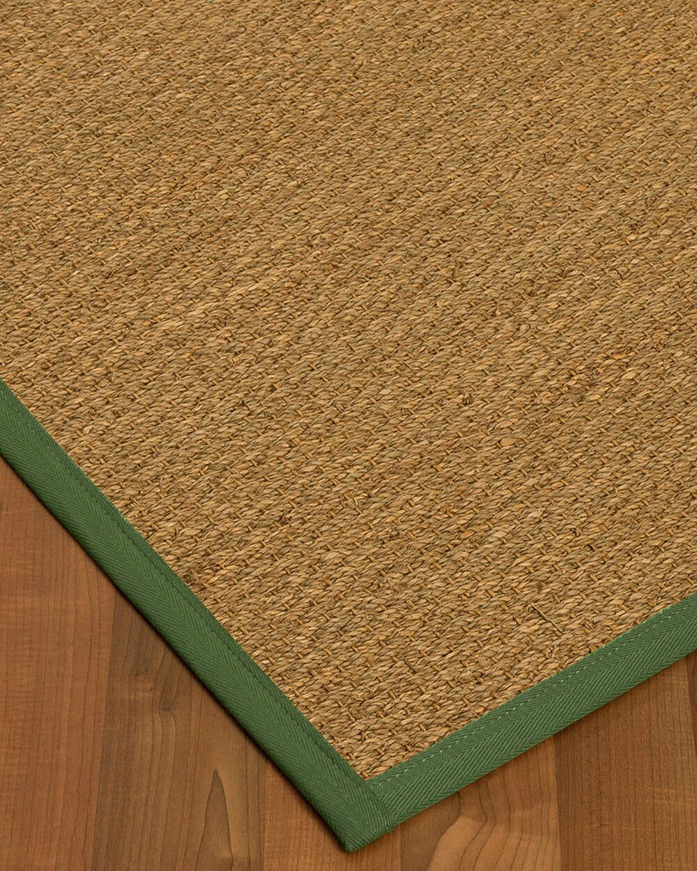 Anya Border Hand-Woven Beige/Green Area Rug Rug Size: Rectangle 6' x 9', Rug Pad Included: Yes