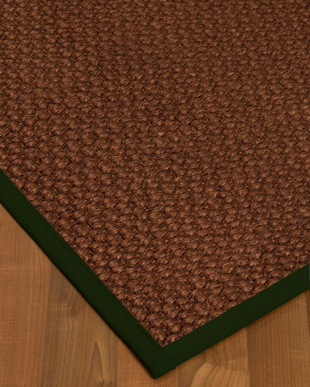 Kerrick Border Hand-Woven Brown/Moss Area Rug Rug Size: Rectangle 8' x 10', Rug Pad Included: Yes