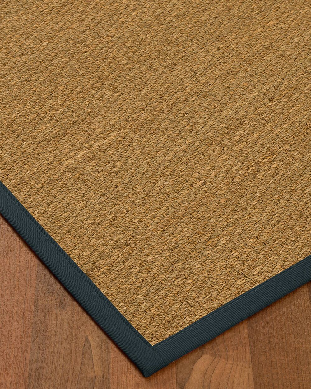 Anya Border Hand-Woven Beige/Marine Area Rug Rug Size: Rectangle 8' x 10', Rug Pad Included: Yes