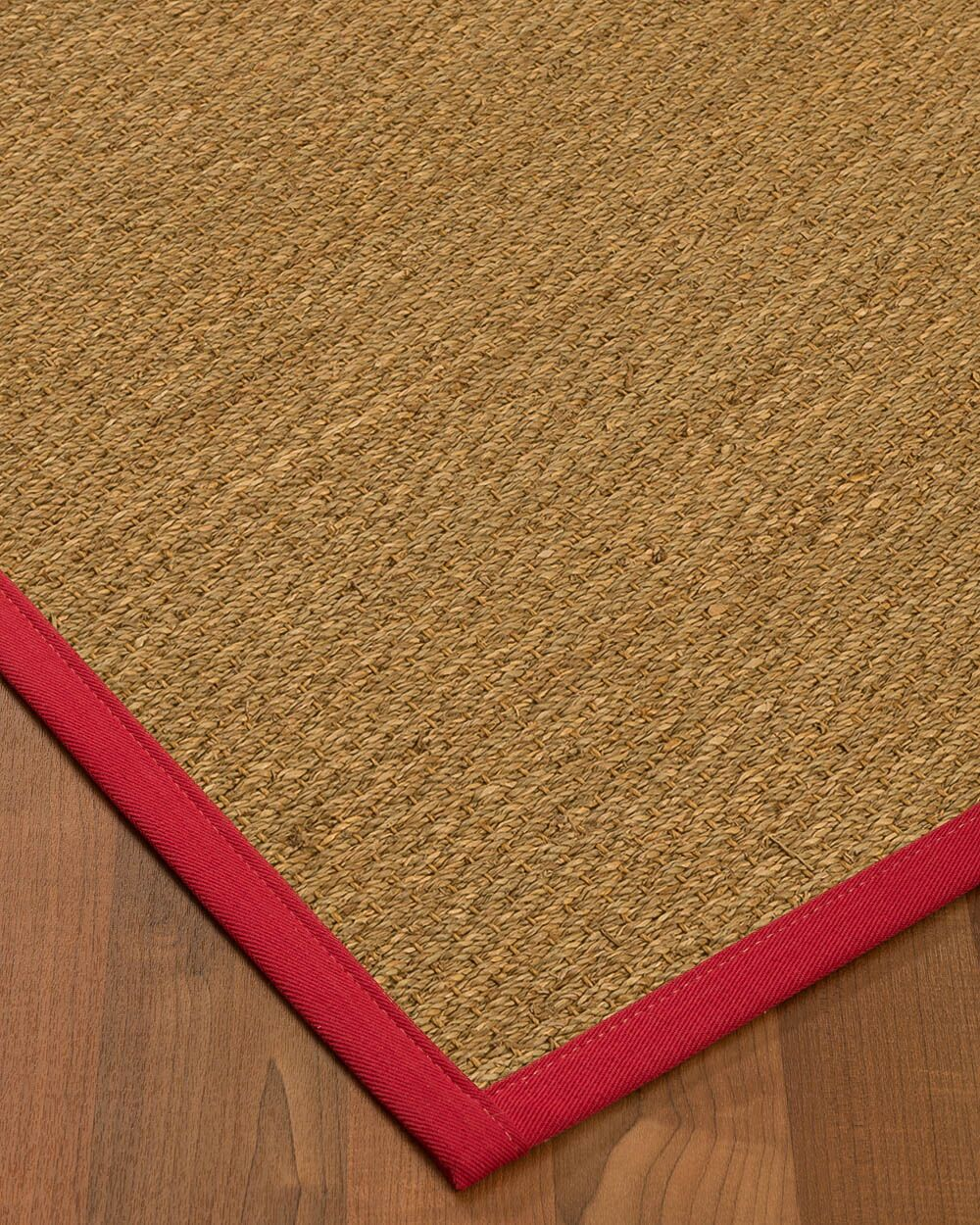 Anya Border Hand-Woven Beige/Red Area Rug Rug Size: Rectangle 9' x 12', Rug Pad Included: Yes