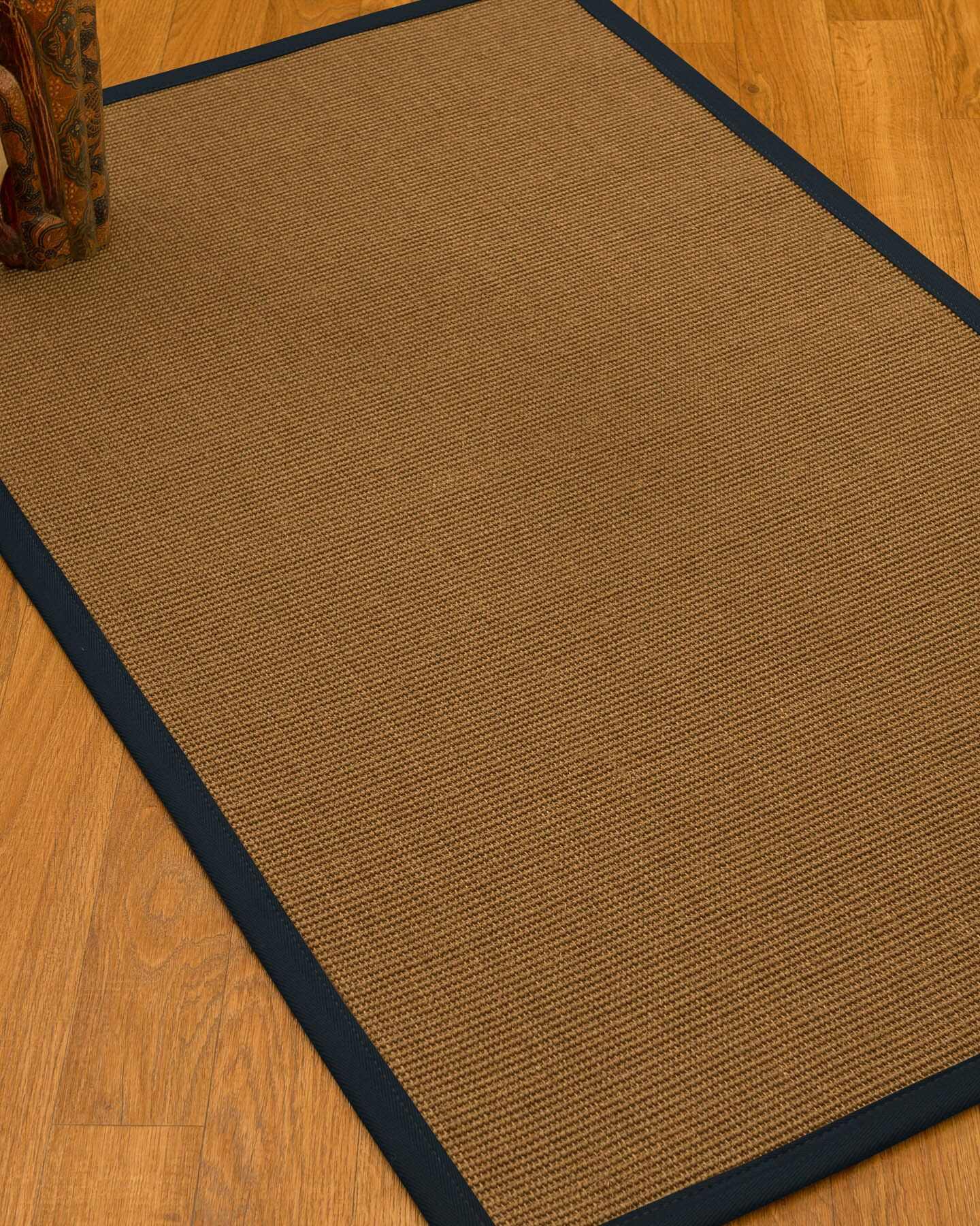 Huntwood Border Hand-Woven Brown/Midnight Blue Area Rug Rug Pad Included: No, Rug Size: Rectangle 3' x 5'