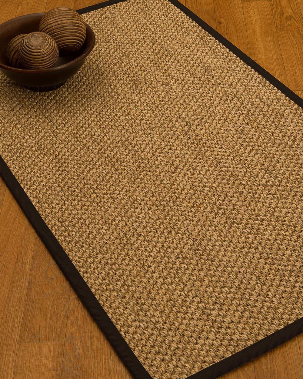 Heier Border Hand-Woven Brown/Fudge Area Rug Rug Size: Rectangle 6' x 9', Rug Pad Included: Yes