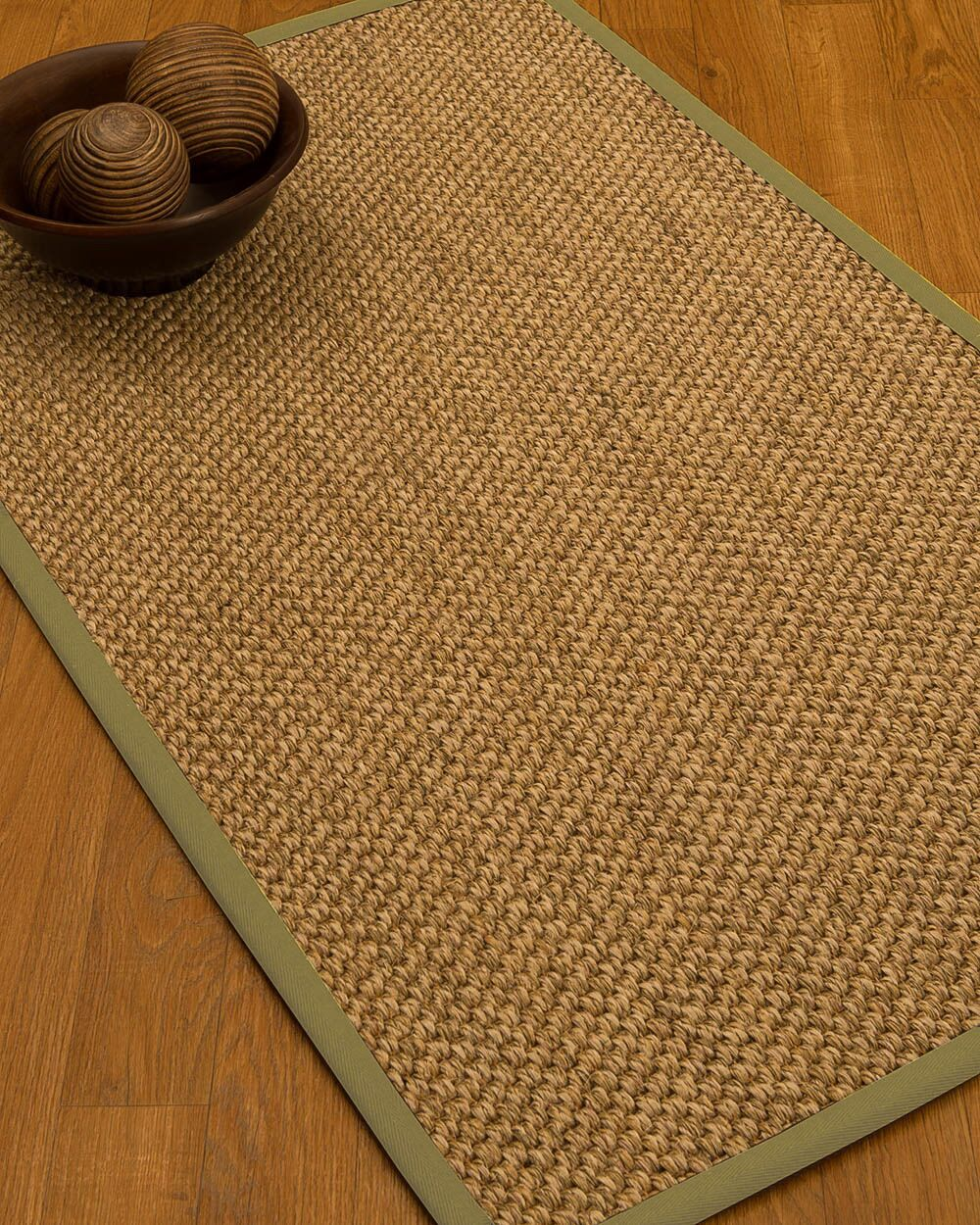 Heier Border Hand-Woven Brown/Khaki Area Rug Rug Size: Rectangle 12' x 15', Rug Pad Included: Yes
