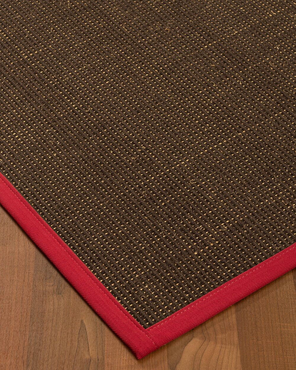 Kersh Border Hand-Woven Brown/Red Area Rug Rug Size: Rectangle 12' x 15', Rug Pad Included: Yes