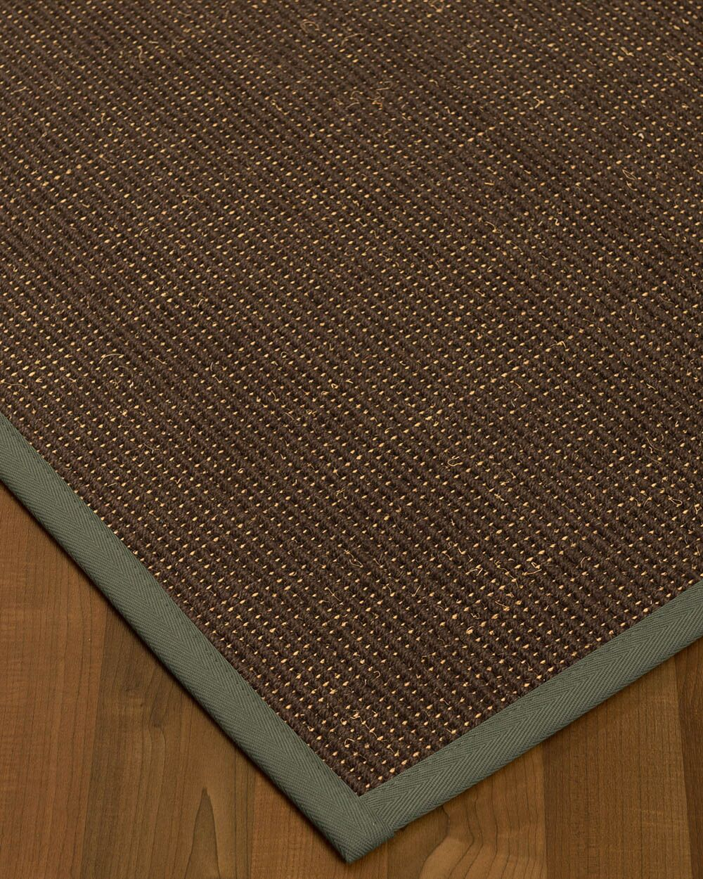 Kersh Border Hand-Woven Brown/Stone Area Rug Rug Size: Rectangle 8' x 10', Rug Pad Included: Yes
