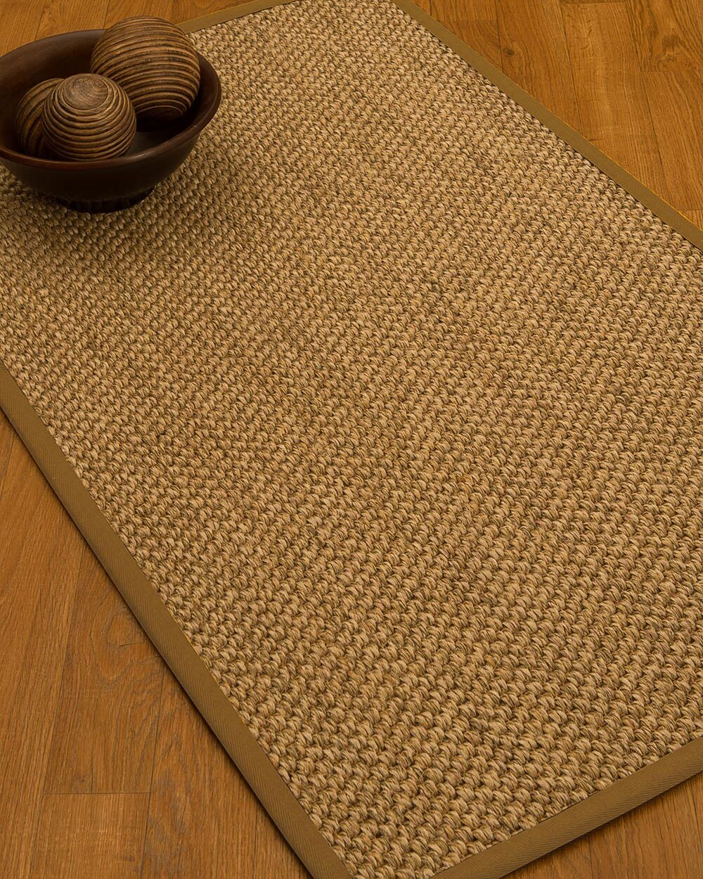 Heier Border Hand-Woven Brown Area Rug Rug Size: Rectangle 4' x 6', Rug Pad Included: Yes