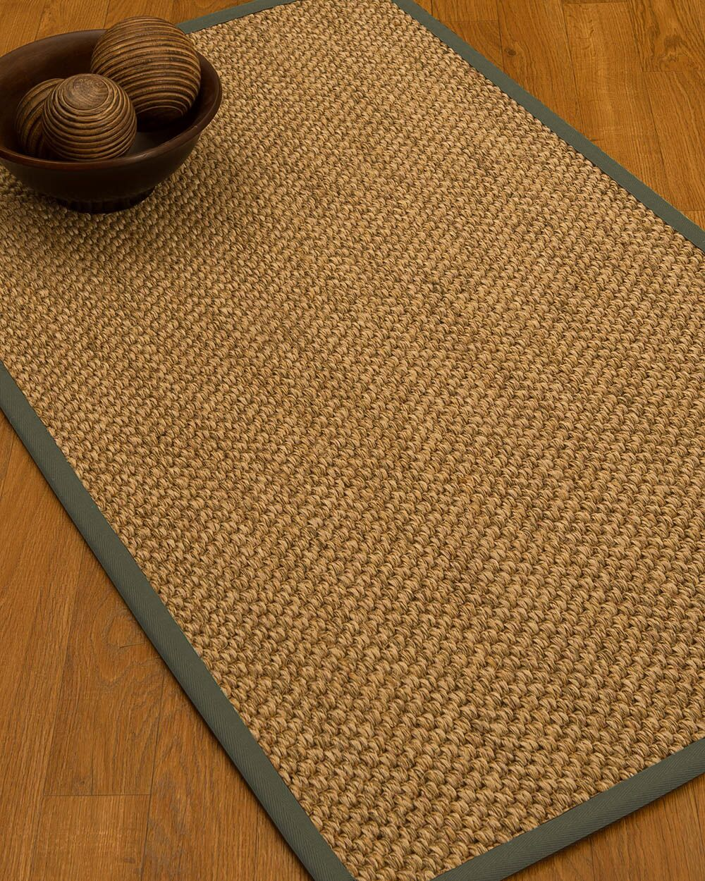 Heier Border Hand-Woven Brown/Stone Area Rug Rug Size: Rectangle 5' x 8', Rug Pad Included: Yes