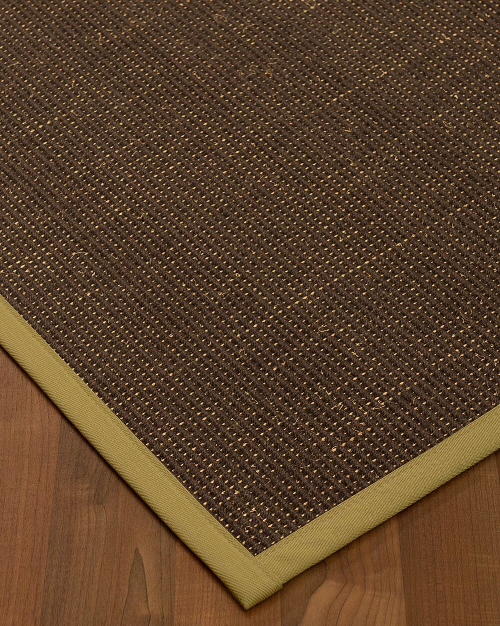 Kersh Border Hand-Woven Brown/Khaki Area Rug Rug Size: Rectangle 6' x 9', Rug Pad Included: Yes