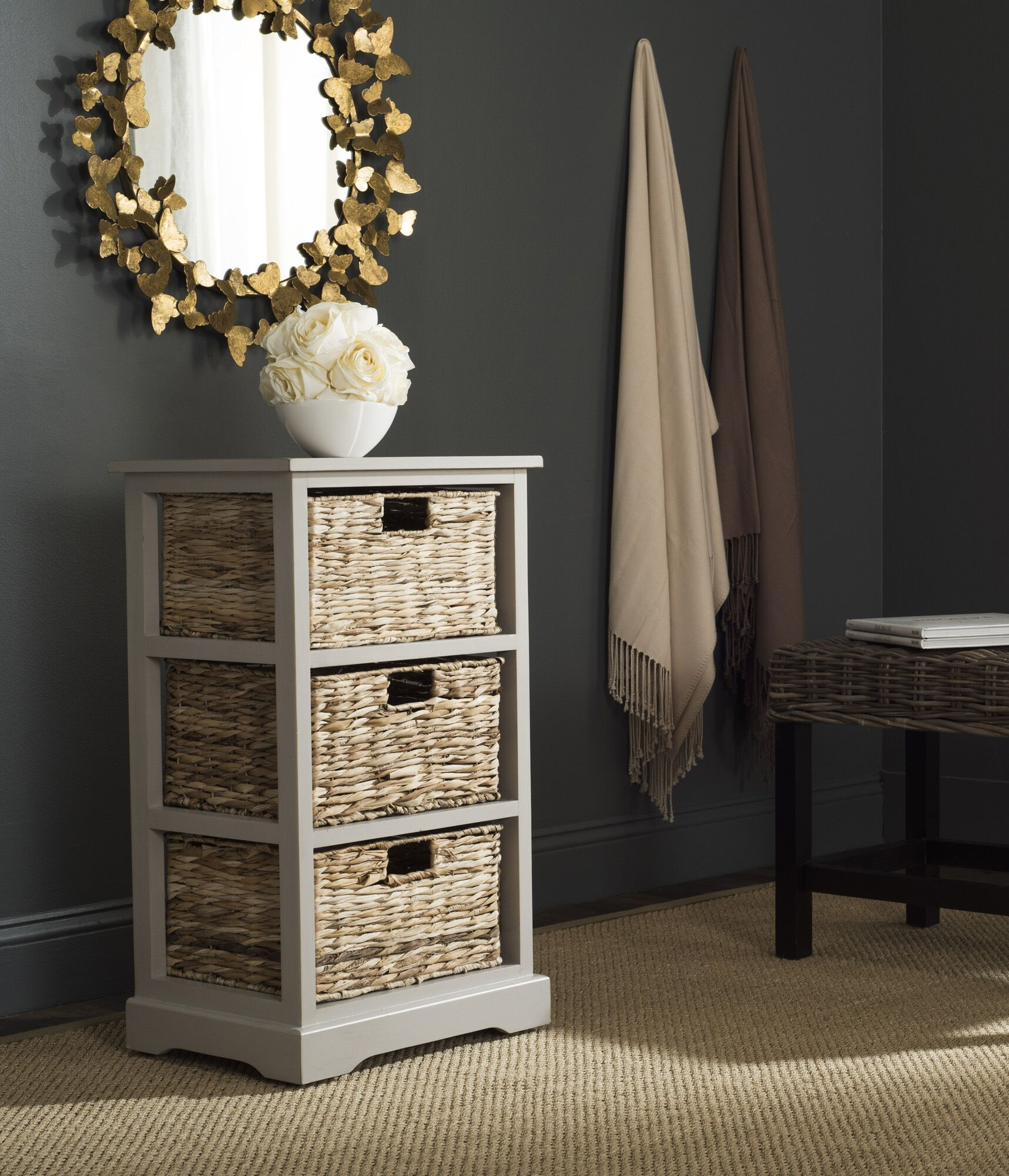 Halle End Table With Storage� Color: Vintage Grey