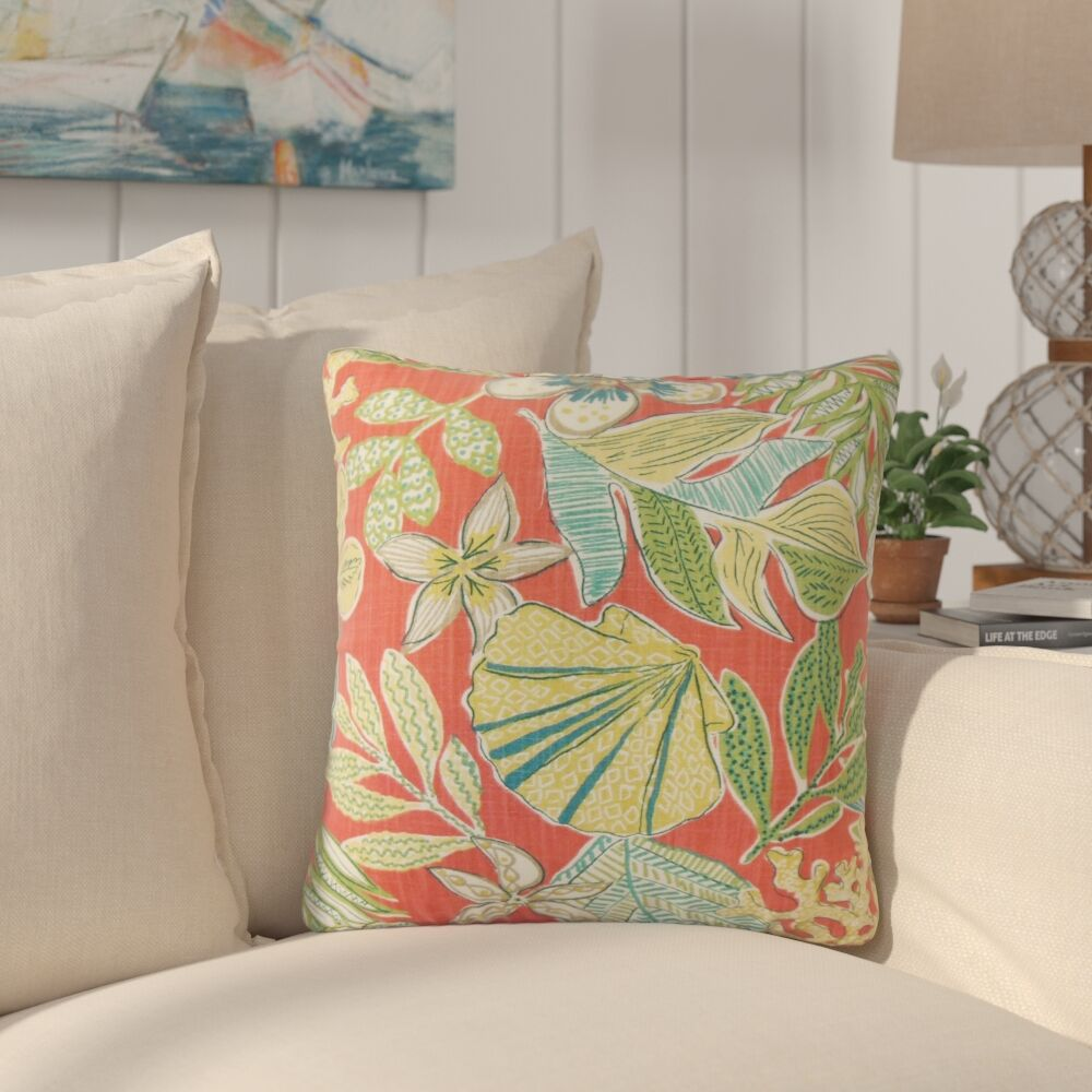 Hannatou Floral Cotton Throw Pillow Color: Coral