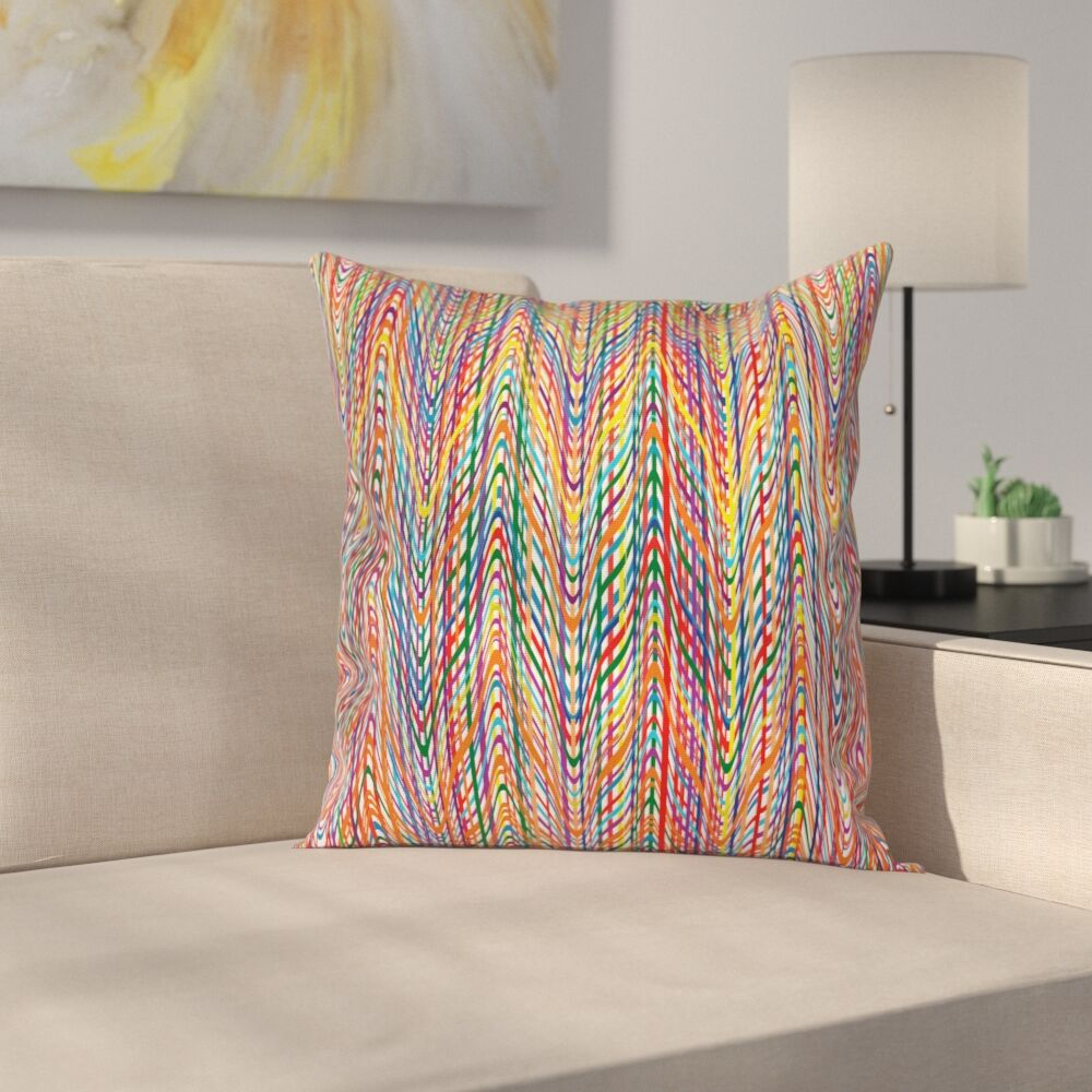 Zig Zag Lines Cushion Pillow Cover Size: 16