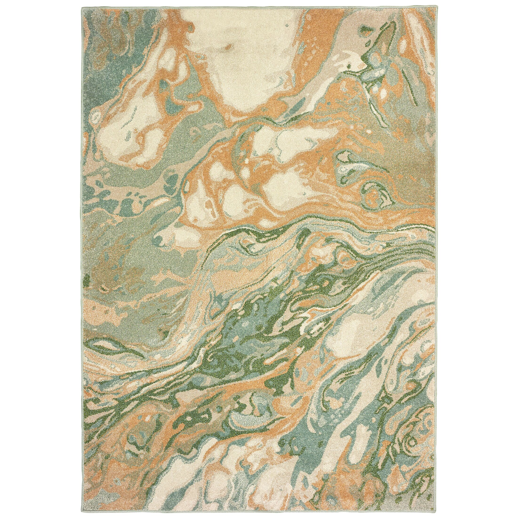 Hedberg Abstract Green/Gold Area Rug Rug Size: Rectangle 3'10
