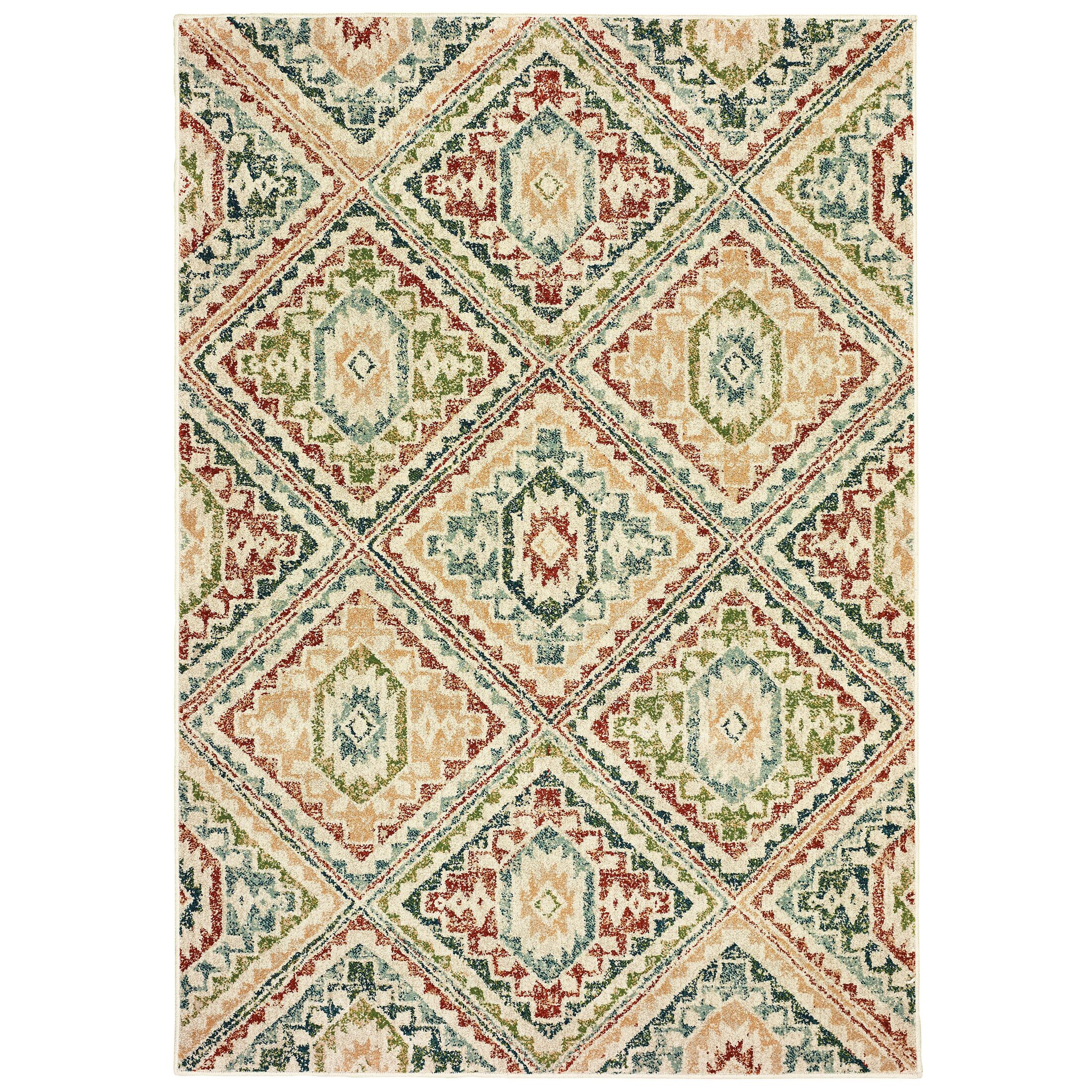 Hedberg Tribal Ivory/Green Area Rug Rug Size: Rectangle 3'10